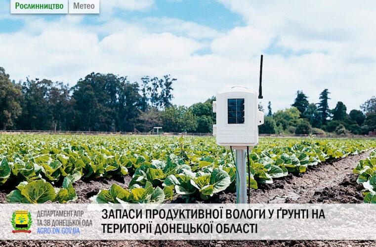 Запаси продуктивної вологи у ґрунті на території Донецької області станом на 28.08.2020