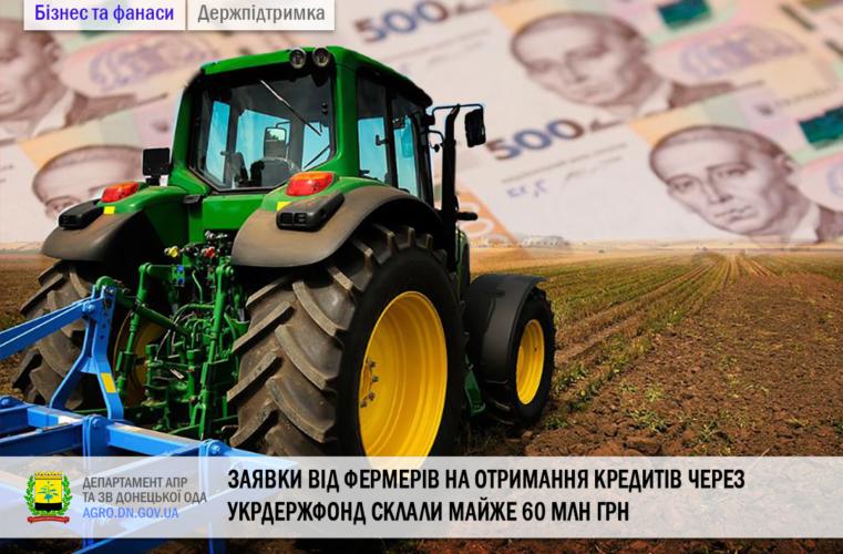 Заявки від фермерів на отримання кредитів через Укрдержфонд склали майже 60 млн грн