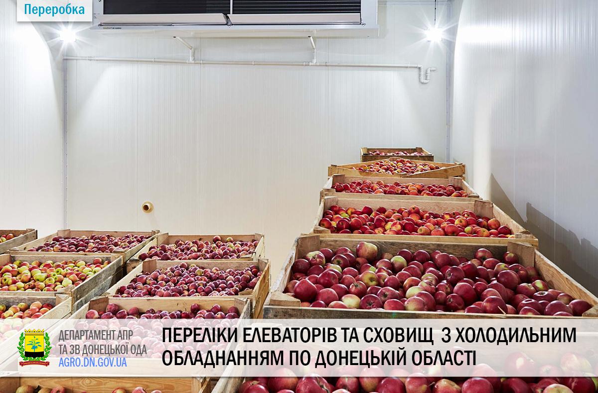 Переліки елеваторів та сховищ  з холодильним обладнанням по Донецькій області станом на 01.09.2020