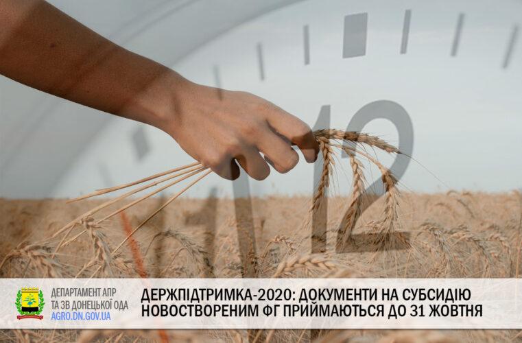 Держпідтримка-2020: Документи на субсидію новоствореним ФГ приймаються до 31 жовтня