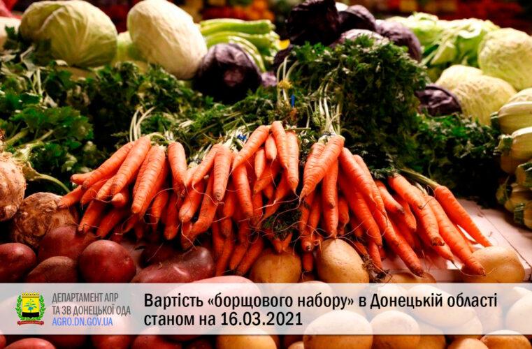 Вартість «борщового набору» в Донецькій області станом на 16.03.2021