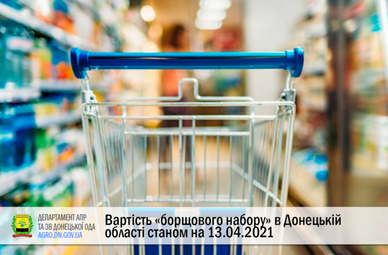 Вартість «борщового набору» в Донецькій області станом на 13.04.2021