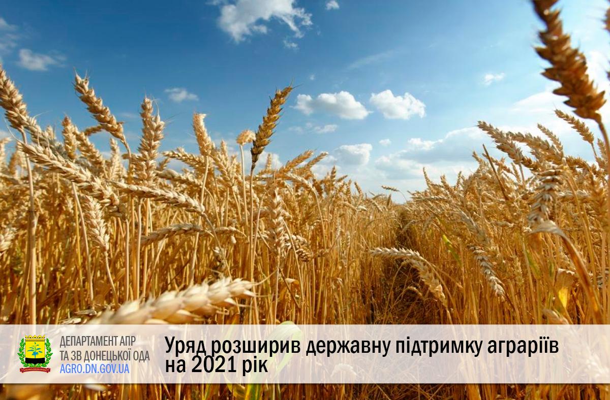 Уряд розширив державну підтримку аграріїв на 2021 рік