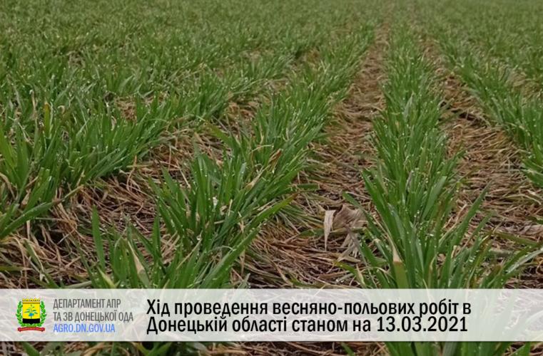 Хід проведення весняно-польових робіт в донецькій області станом на 13.04.2021