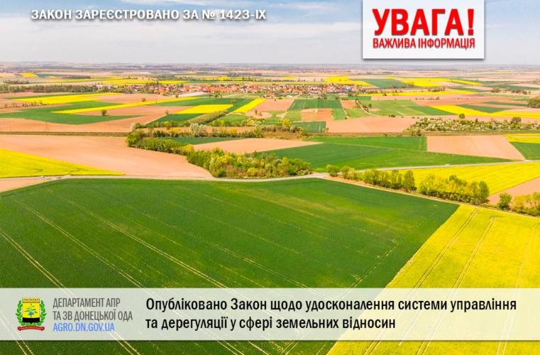 Опубліковано Закон щодо удосконалення системи управління та дерегуляції у сфері земельних відносин № 1423-IX
