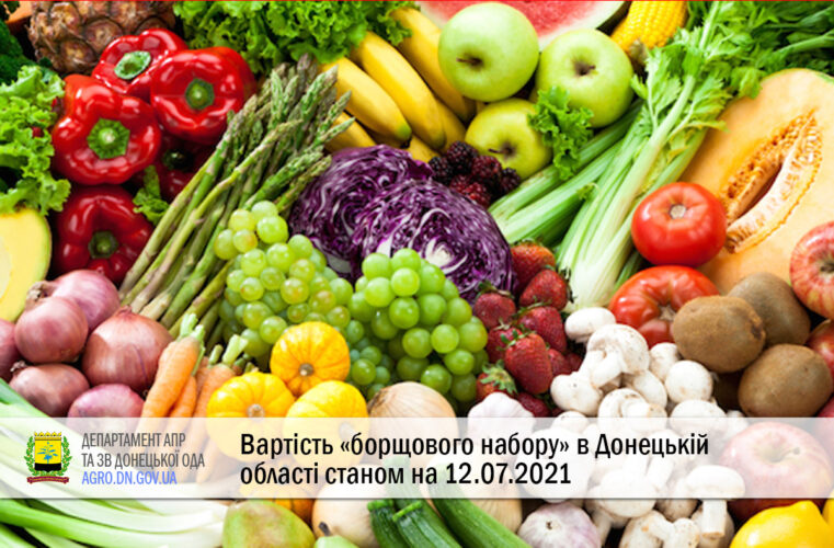 Вартість «борщового набору» в Донецькій області станом на 12.07.2021