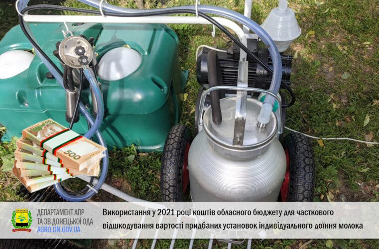 Використання у 2021 році коштів обласного бюджету для часткового відшкодування вартості придбаних установок індивідуального доїння молока