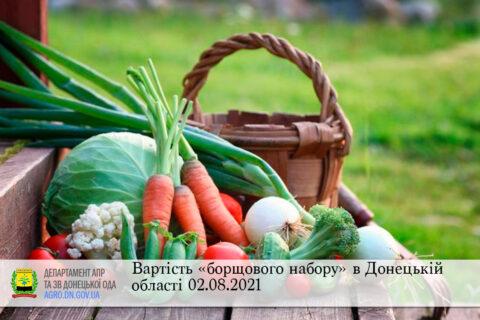 Вартість «борщового набору» в Донецькій області 02.08.2021