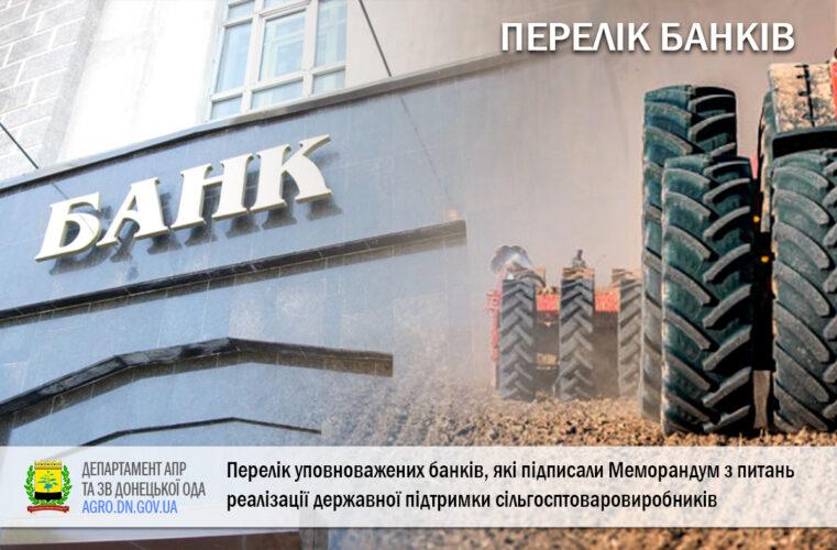 Перелік уповноважених банків, які підписали Меморандум з питань реалізації державної підтримки сільгосптоваровиробників