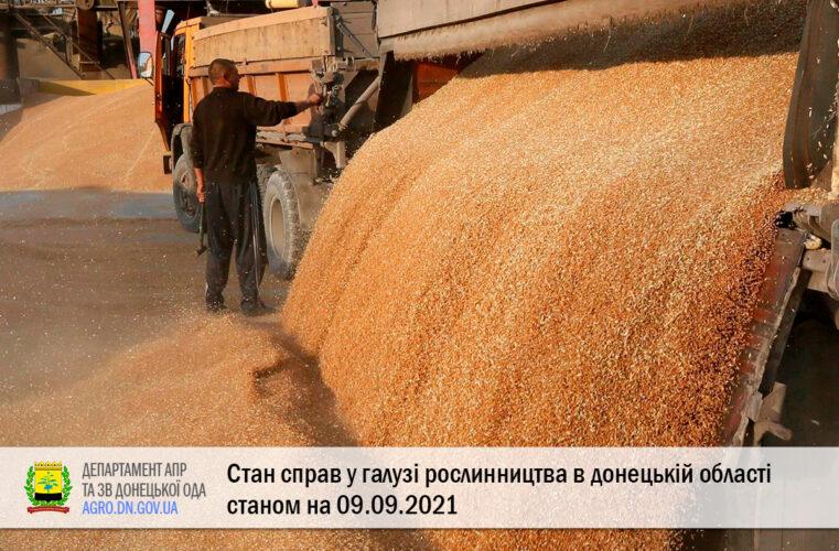 Стан справ у галузі рослинництва в донецькій області станом на 09.09.2021